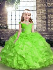 Organza Sleeveless Floor Length Winning Pageant Gowns and Beading and Ruffles and Ruching