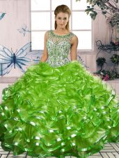 Floor Length Vestidos de Quinceanera Organza Sleeveless Beading and Ruffles