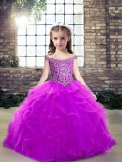 Amazing Purple Lace Up Off The Shoulder Beading and Ruffles Little Girl Pageant Dress Tulle Sleeveless