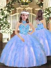 Appliques and Ruffles Little Girls Pageant Gowns Blue Lace Up Sleeveless Floor Length