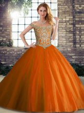 Noble Orange Red Lace Up Off The Shoulder Beading Quinceanera Dresses Tulle Sleeveless Brush Train
