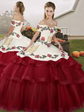 Simple Wine Red Lace Up Off The Shoulder Embroidery and Ruffled Layers 15 Quinceanera Dress Tulle Sleeveless Brush Train