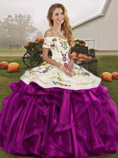 White And Purple Sleeveless Organza Lace Up Sweet 16 Quinceanera Dress for Military Ball and Sweet 16 and Quinceanera