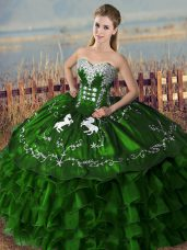 Embroidery and Ruffles Quinceanera Gown Green Lace Up Sleeveless Floor Length