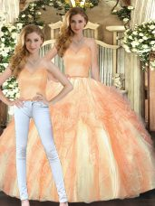 Orange Sweetheart Neckline Beading and Ruffles Quinceanera Gown Sleeveless Lace Up