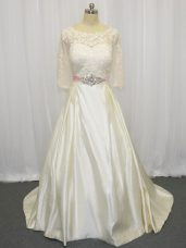 Half Sleeves Brush Train Beading and Lace Zipper Wedding Gown