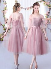 Exquisite Tea Length Lace Up Court Dresses for Sweet 16 Pink for Wedding Party with Lace and Belt