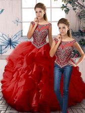 Red Scoop Zipper Beading and Ruffles Quinceanera Gowns Sleeveless