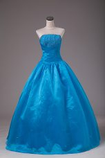 Nice Blue Lace Up 15 Quinceanera Dress Beading Sleeveless Floor Length