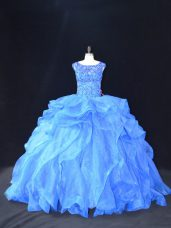 Beading and Ruffles Sweet 16 Quinceanera Dress Blue Lace Up Sleeveless Brush Train