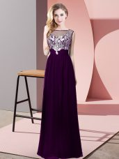 Purple Dress for Prom Prom and Party with Beading Scoop Sleeveless Backless