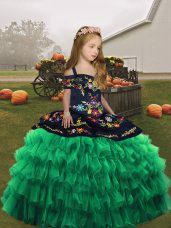 New Style Green Little Girls Pageant Dress Party and Wedding Party with Embroidery Straps Sleeveless Lace Up