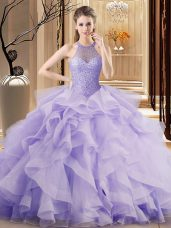 Hot Sale Lavender Sleeveless Sweep Train Beading and Ruffles Vestidos de Quinceanera