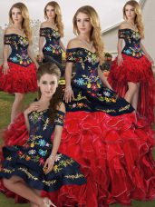 Floor Length Lace Up Quinceanera Gowns Red And Black for Military Ball and Sweet 16 and Quinceanera with Embroidery and Ruffles