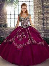 Fuchsia Ball Gowns Tulle Straps Sleeveless Beading and Embroidery Floor Length Lace Up Sweet 16 Dress