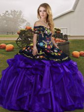Attractive Ball Gowns Ball Gown Prom Dress Black And Purple Off The Shoulder Organza Sleeveless Floor Length Lace Up