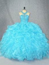 On Sale Baby Blue Ball Gowns Scoop Sleeveless Organza Floor Length Zipper Beading and Ruffles Quinceanera Dress