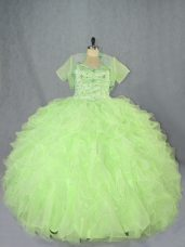 Sleeveless Floor Length Beading and Ruffles Lace Up Vestidos de Quinceanera with Yellow Green
