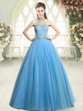 Glamorous Blue A-line Beading Evening Dress Zipper Tulle Sleeveless Floor Length