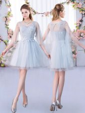 Dazzling Scoop 3 4 Length Sleeve Lace Up Quinceanera Court Dresses Grey Tulle