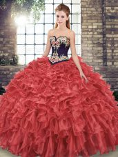 Exquisite Organza Sweetheart Sleeveless Sweep Train Lace Up Embroidery and Ruffles Sweet 16 Dress in Red