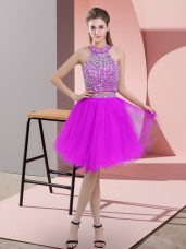 Delicate Purple Sleeveless Organza Backless Prom Gown for Prom and Party