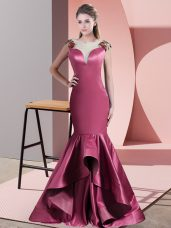 Luxury Red Satin Side Zipper Prom Dresses Sleeveless Sweep Train Beading and Appliques