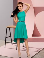 Two Pieces Turquoise Scoop Sleeveless High Low Lace Up
