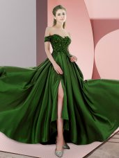 Shining Green Sleeveless Beading Backless
