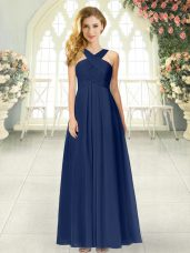 Ruching Evening Dress Navy Blue Zipper Sleeveless Floor Length
