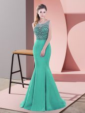 Best Turquoise Sleeveless Satin Sweep Train Backless Prom Gown for Prom and Party and Military Ball