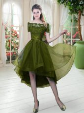 High Low A-line Short Sleeves Olive Green Evening Dress Lace Up