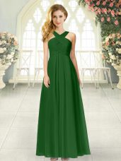 Adorable Sleeveless Floor Length Ruching Zipper Dress for Prom with Green