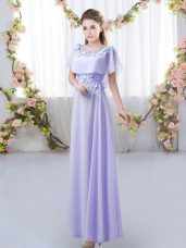 Floor Length Lavender Dama Dress Scoop Short Sleeves Zipper