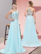 Modern One Shoulder Sleeveless Evening Party Dresses Sweep Train Beading Baby Blue Chiffon