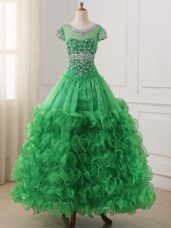 Green Organza Lace Up Kids Formal Wear Cap Sleeves Floor Length Beading and Ruffles