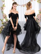 Tulle Off The Shoulder Short Sleeves Lace Up Lace and Ruffled Layers Wedding Guest Dresses in Black