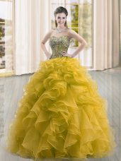 Customized Gold Sleeveless Organza Lace Up 15th Birthday Dress for Military Ball and Sweet 16 and Quinceanera