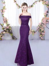 Purple Off The Shoulder Neckline Lace Quinceanera Court of Honor Dress Sleeveless Lace Up