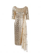 Glittering Half Sleeves Sequined Knee Length Zipper in Gold with Belt