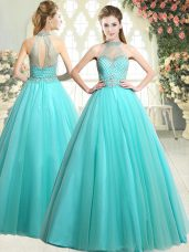 Clearance Sleeveless Floor Length Beading Zipper Prom Party Dress with Aqua Blue