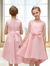 Lovely Scoop Sleeveless Satin Flower Girl Dresses for Less Lace and Bowknot Zipper