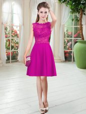 Discount Empire Prom Gown Fuchsia Scalloped Satin Sleeveless Knee Length Zipper