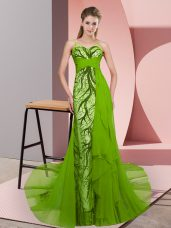 Green Tulle Zipper Spaghetti Straps Sleeveless Prom Evening Gown Sweep Train Beading and Lace