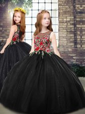 Black Little Girls Pageant Dress Wholesale Party and Wedding Party with Embroidery Scoop Sleeveless Zipper