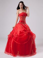 Red 2013 Quinceanera Dress with Embroidery and Pick-ups