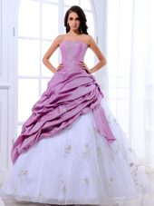 Strapless Lavender and White Quinceanera Dress with Appliques