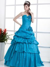 Sweetheart Teal Quinceanera Dress with Hand Made Flowers