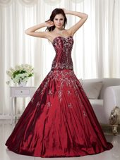 Wine Red Sweetheart Beading and Embroidery Quinceanera Dress