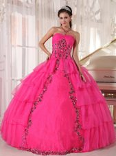Hot Pink Sweetheart Organza Paillette Quinceanera Dress